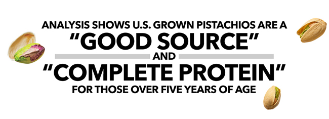 "Analysis shows U.S. grown pistachios are a ""good source"" and ""complete protein"" for those over five years of age."